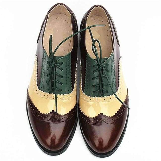 1befc6d5b7 Planet Gates brown gold green / 5.5 women genuine leather oxford shoes  woman flats handmade vintage. Tap to expand