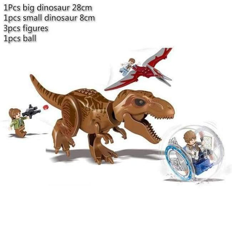Jurassic World 2 Dinosaur Building Blocks Legoings Jurassic Dinosaur Figures Bricks Tyrannosaurus Rex Indominus I-Rex Model Toys - Brown