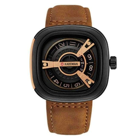 Planet Gates brown KADEMAN Creative Watches Men Luxury Brand Quartz Watch Fashion Sports Reloj Hombre Waterproof Clock Male Watch Relogio Masculino