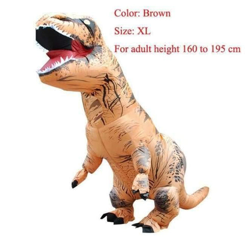 Planet Gates brown size XL / T REX Adult  T-REX Inflatable Costume Christmas Cosplay Dinosaur Animal Jumpsuit Halloween Costume for Women Men
