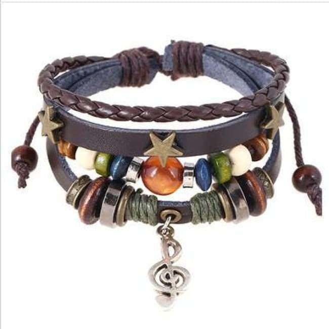 Planet Gates Brown2 / Free Shipping Women's Bracelet Pendant Leather Cuff Wrap Bracelet Punk Rock Wristband Retro Braid Bangle Buckle Type