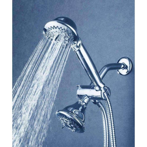 Planet Gates Bthroom Shower Accessories Handheld and Fixed Shower Combo 5 Settings ABS Material Chrome Finish Surface Showerhead Set With