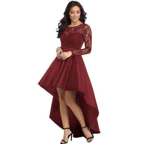 Black Long Sleeve Lace High Low Satin Dress Sexy Elegant Maxi Evening Party Dresses Social Event Red Carpet Vestidos - Burgundy / S / China