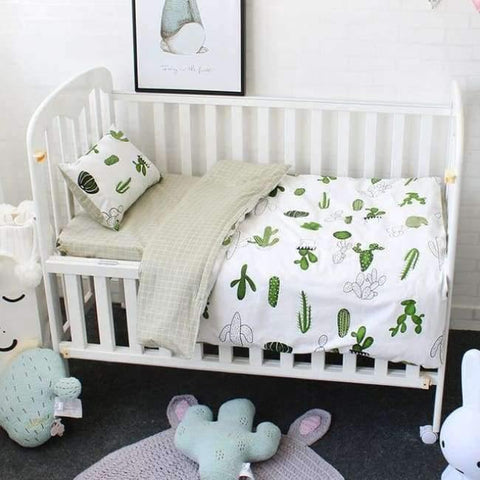 Image of Planet Gates Cactus 3Pcs Baby Bedding Set Cotton Soft Breathable Crib Kit Include Duvet Cover Pillowcase Bed Sheet No Filler Custom Made Letter Bumper