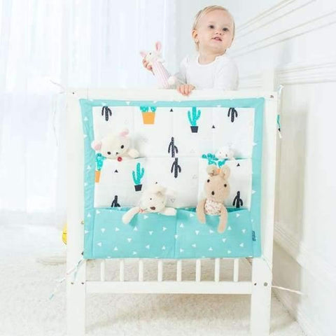 Image of Planet Gates Cactus Baby Bed Hanging Storage Bag Cotton Crib Organizer For Newborn Baby Bedding Set Cartoon Pattern Baby Cot Toy Diaper Pocket