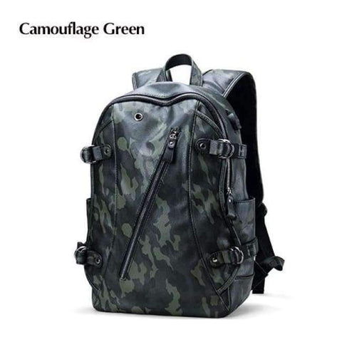 Planet Gates Camouflage Green LIELANG Men Backpack External USB Charge Waterproof  Backpack Fashion PU Leather Travel Bag Casual School Bag For Teenagers