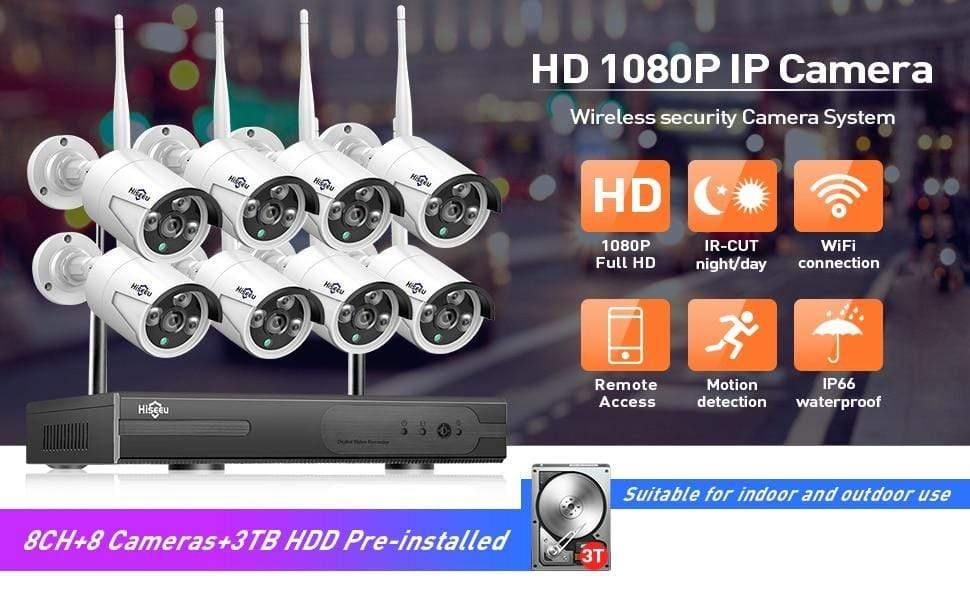 8CH Wireless NVR Wifi 8 Indoor//Outdoor CCTV IR-CUT Camera Security System NO HDD