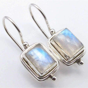 Planet Gates Chanti International . Pure Silver Natural RAINBOW MOONSTONE DANGLING Fix Wire Earrings 2.6 CM NEW