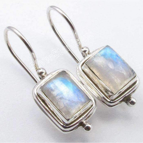 Image of Planet Gates Chanti International . Pure Silver Natural RAINBOW MOONSTONE DANGLING Fix Wire Earrings 2.6 CM NEW