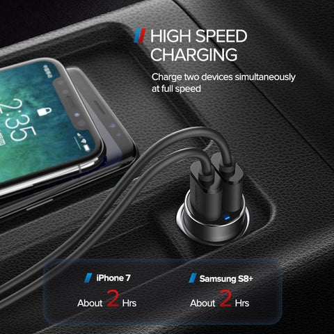 Planet Gates China / 4.8A Car Charger Ugreen USB Car Charger for Xiaomi Mini Dual Car-Charger 3.6A Universal Fast Mobile Phone Charger for iPhone X 8 7 6S Car Charger