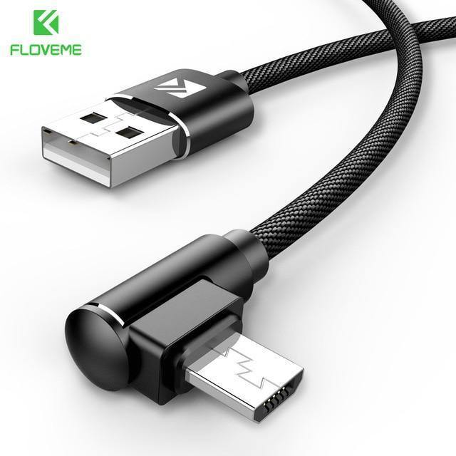 FLOVEME Micro USB Cable For Xiaomi Redmi 4X Note4 2 4A Fast Charging 1M L  Shape Mobile Phone Charger Cable For Samsung S7 Huawei