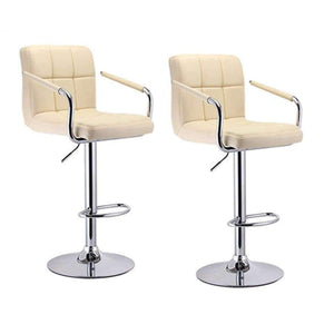 JEOBEST 2pcs Bar Stools Swivel Black Leather Height Adjustable Pub Bar Chair Modern Living Room Furniture FR DE Stock HWC