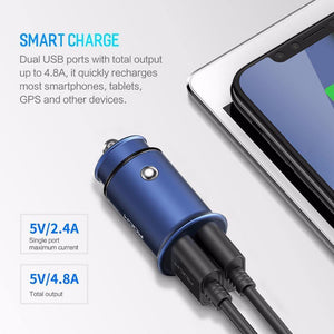 Rock 4.8A Dual USB Car Charger for iPhone Samsung Huawei Xiaomi Mobile Phone Fast Car Phone Charger USB Travel Car-Charger