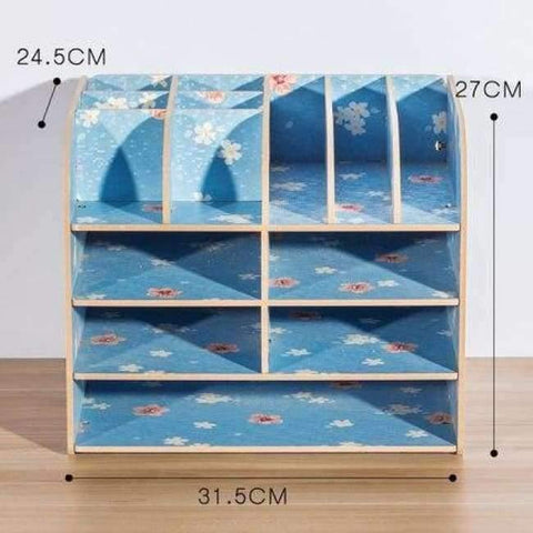 Planet Gates China / Blue Flower Office Organizer Wooden Office Desk Sets Desk File Organizer Multifunctional Office Desk Accessories Document Storage Box