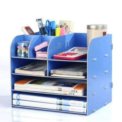 Planet Gates China / Blue Office Organizer Wooden Office Desk Sets Desk File Organizer Multifunctional Office Desk Accessories Document Storage Box