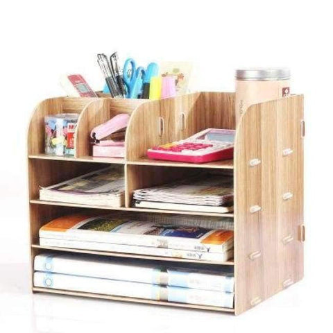 Planet Gates China / Brown Office Organizer Wooden Office Desk Sets Desk File Organizer Multifunctional Office Desk Accessories Document Storage Box