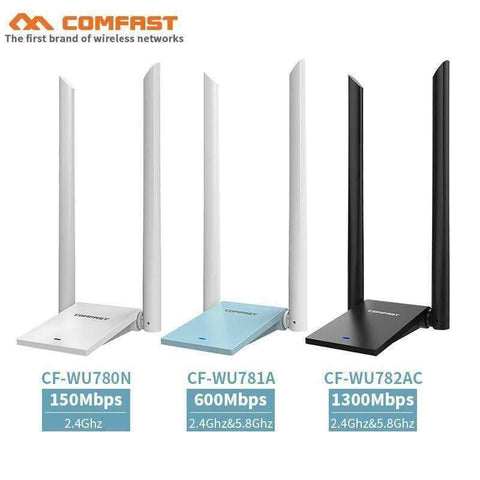 Planet Gates China / CF-WU780N COMFAST 150Mbps&600Mbps&1300Mbps high power Through Wall USB Wireless Adapter pc computer network card with 2*6dBi Antenna wi fi