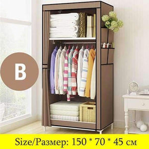 Minimalist Modern Non-woven Cloth Small Wardrobe Student Clothing Storage Cabinet Folding Steel Individual Closet Home Furniture