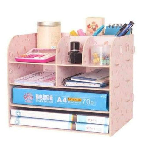 Planet Gates China / Kitty Office Organizer Wooden Office Desk Sets Desk File Organizer Multifunctional Office Desk Accessories Document Storage Box