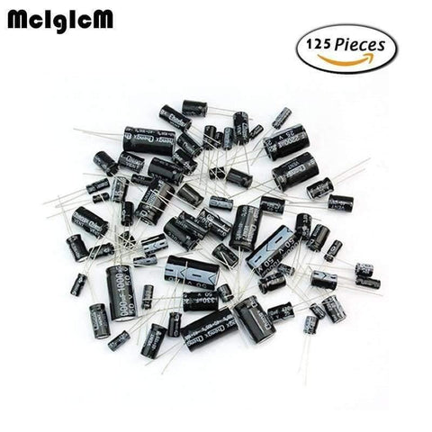 Planet Gates China MCIGICM D180  125pcs 25 Values Total Electrolytic Capacitors Assortment Kit Set 1uF to 2200uF electronic components