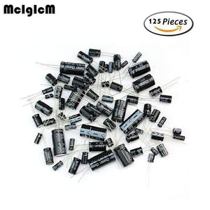 MCIGICM D180  125pcs 25 Values Total Electrolytic Capacitors Assortment Kit Set 1uF to 2200uF electronic components