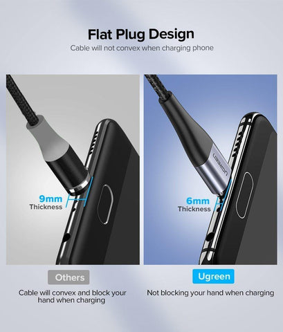 Planet Gates China / Only Cable No Plug / 1m Ugreen Magnetic USB Cable Fast Charging USB Type C Cable Magnet Charger Data Charge Micro USB Cable Mobile Phone Cable USB Cord