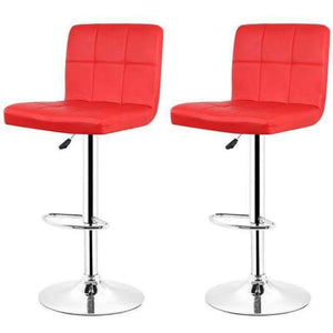 JEOBEST 2PCS/set Kitchen Bar Stools Chair Leather Adjustable Swivel Bar Stools Breakfast Bar Chairs Black/Red DE FR HWC