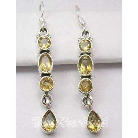 Image of Planet Gates CITRINE Chanti International Pure Silver Natural MULTISTONES Multicolor Amazing Gorgeous Earrings 4.7 CM