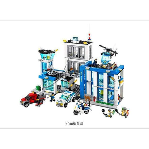 Image of Planet Gates City Police Station motorbike helicopter Model building kits compatible with lego city 60047 blocks Educational toys
