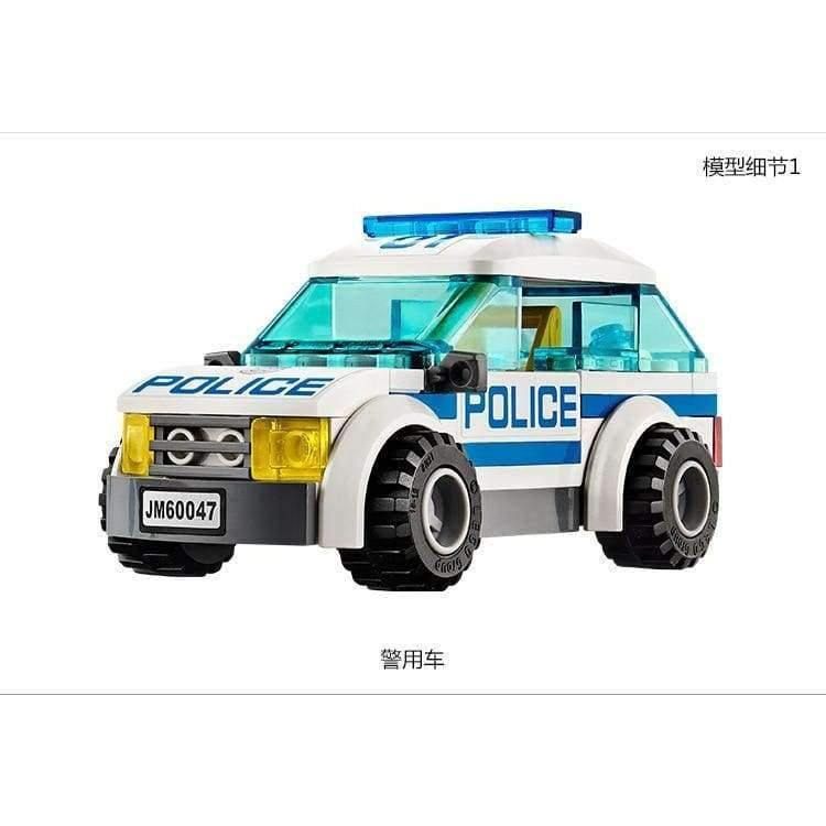 Planet Gates City Police Station motorbike helicopter Model building kits compatible with lego city 60047 blocks Educational toys