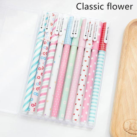 Planet Gates Classical flower set 10 pcs Black ink pens Classical flower Starry star ballpoint pen for writing signature Stationery Office