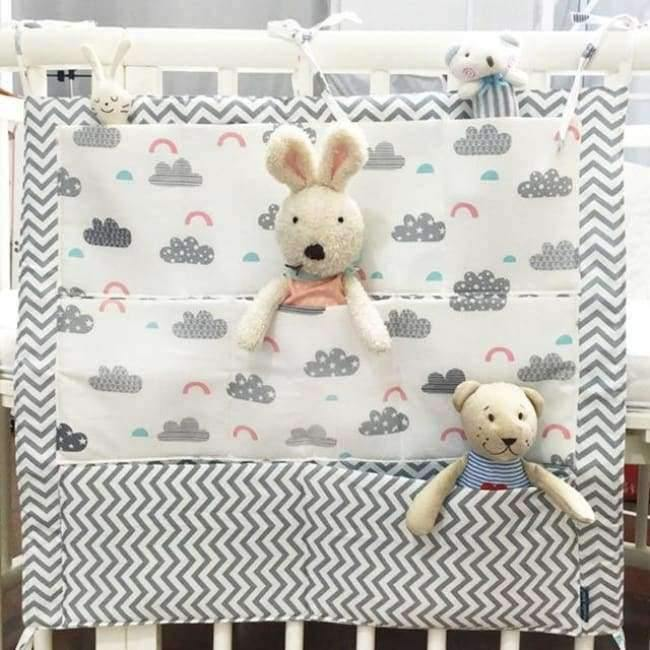 Planet Gates Cloud Baby Bed Hanging Storage Bag Cotton Crib Organizer For Newborn Baby Bedding Set Cartoon Pattern Baby Cot Toy Diaper Pocket