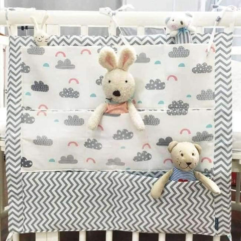Image of Planet Gates Cloud Baby Bed Hanging Storage Bag Cotton Crib Organizer For Newborn Baby Bedding Set Cartoon Pattern Baby Cot Toy Diaper Pocket