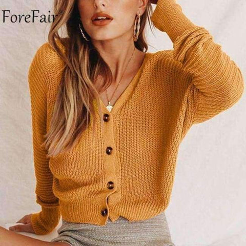 Image of Planet Gates Coffee / S Casual Cardigan Sweater Women Autumn Long Sleeve Crop Top Lantern Sleeve Coat Knitted Female Jumper Ladies Sweater Coat