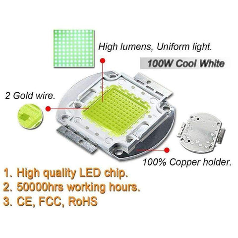 Planet Gates Cool White 10000K / 100W / 10 Pieces High Power LED Matrix 1W 3W 5W 10W 20W 30W 50W 100W Warm Pure Cold Natue White Light Bulb Lamp SMD COB 3000K 6000K 10000K Indoor