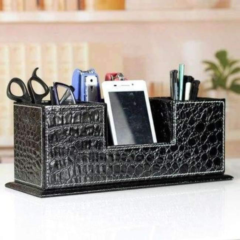 Planet Gates croco black Double-side wooden PU leather desk pen pencils box case mobile card organizer stationery accessories organizer storage rack 202A