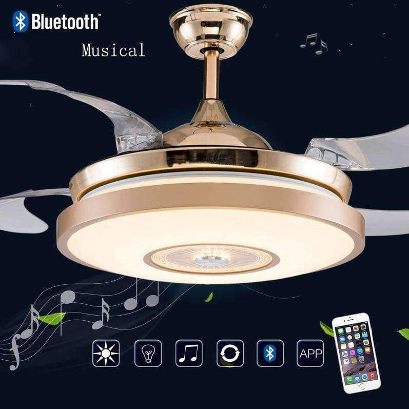 Planet Gates D40cm wall switch LED Bluetooth Musical Stainless steel Acryl Ceiling Fan LED Ceiling Lights.LED Ceiling Light.Ceiling Lamp For Foyer Bedroom