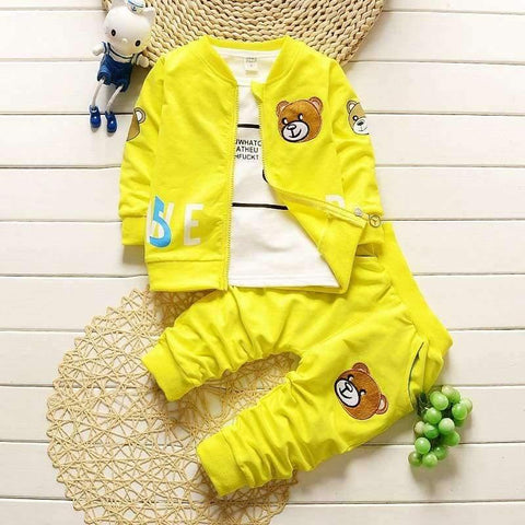 Planet Gates dark blue set / 9M Baby boys clothing sets newborn  boy coat + shirt +pants 3pcs set cartoon bear suit infant boys clothes set