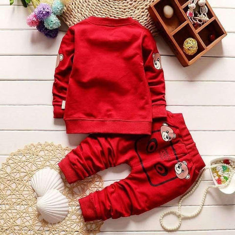 Baby boys clothing sets newborn  boy coat + shirt +pants 3pcs set cartoon bear suit infant boys clothes set