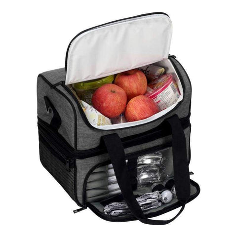 Image of Planet Gates Dark Gray VEEVANV Insulated Lunch Cooler Bags For Food Family Function Waterproof Picnic Large Storage Shoulder Bag Tote Messenger Bags