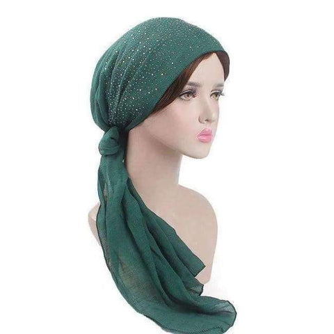 Planet Gates Dark Green Haimeikang 2018 New Women Chemo Cap Turban Long Hair Band Scarf Head Wraps Hat Boho Pre-Tied Bandana Hair Accessories for Women