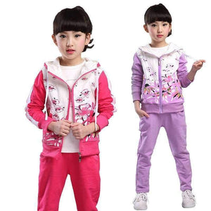 Planet Gates darkpink / 4T Spring Autumn teenage girls clothing set zipper sports clothes for girls children tracksuit kids sport suit 4-12T