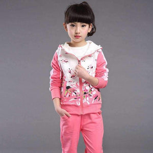 Spring Autumn teenage girls clothing set zipper sports clothes for girls children tracksuit kids sport suit 4-12T