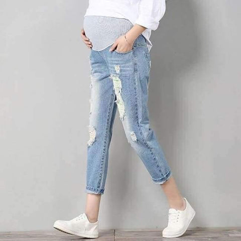 Image of Maternity Jeans Maternity Pants Clothes For Pregnant Women Trousers Nursing Prop Belly Leggings Jeans Pregnancy Clothing Pants