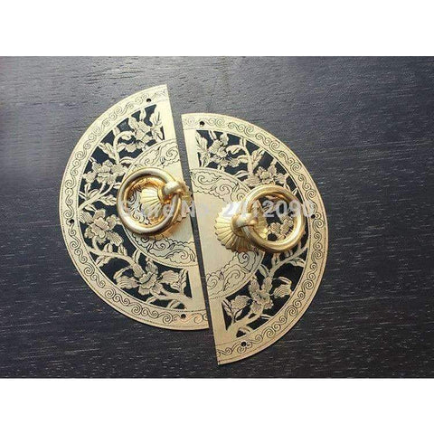Planet Gates diameter 11cm Chinese Antique Furniture Hardware Accessories Brass Round Vintage Pull Handle Knobs for Cabinet Door Cupboard Metal Handles