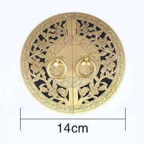 Planet Gates diameter 14cm Chinese Antique Furniture Hardware Accessories Brass Round Vintage Pull Handle Knobs for Cabinet Door Cupboard Metal Handles