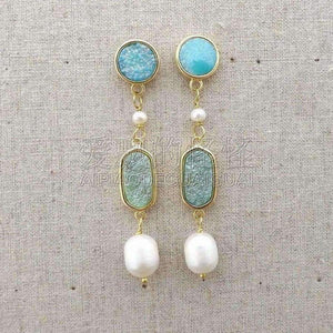 Planet Gates E081815 White Pearl Quartz Blue Druzy Earrings