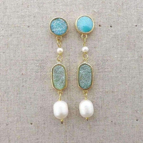Image of Planet Gates E081815 White Pearl Quartz Blue Druzy Earrings