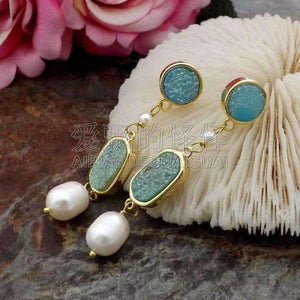 E081815 White Pearl Quartz Blue Druzy Earrings