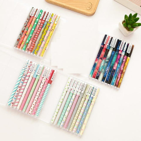 Planet Gates Elegant set 10 pcs Black ink pens Classical flower Starry star ballpoint pen for writing signature Stationery Office